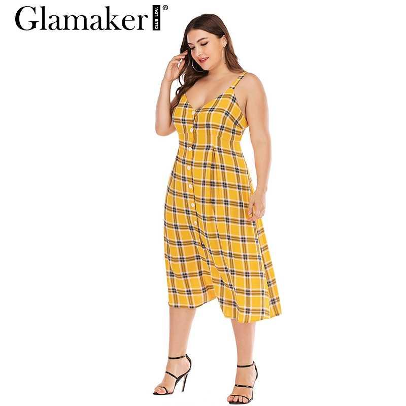Glamaker желтое Элегантное летнее клетчатое вечернее платье для женщин пикантное пляжное с открытой спиной платье для дам Большие размеры Клубные миди платья праздничные