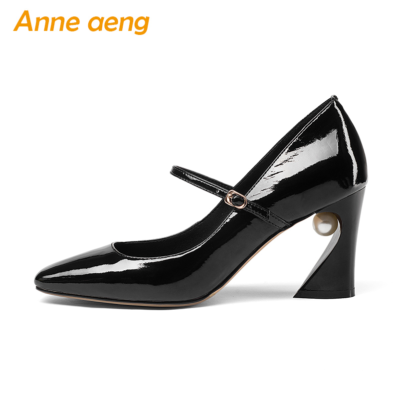 New Spring/Autumn Genuine Leather Women Pumps Pearl Middle Heels Pointed Toe Sexy Office Ladies Women Shoes Black Mary Janes mary janes shoes woman genuine leather strange style women heels pumps pointed toe shoes string bead spring autumn women shoes
