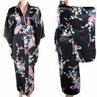 Free Shipping Black Vintage Japanese Women S Silk Satin Kimono Yukata Evening Dress Peafowl One Size