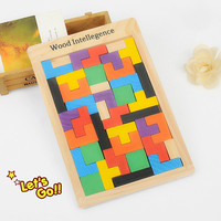 Hot Pop Colorful Wooden Tangram Brain Teaser Puzzle Toys Tetris Game Intellectual Educational Toy Gift Fof