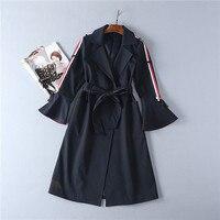 Women S Autumn Winter Turn Down Collar Coat Medium Long Outerwear High Quality Fashion Dark Deep