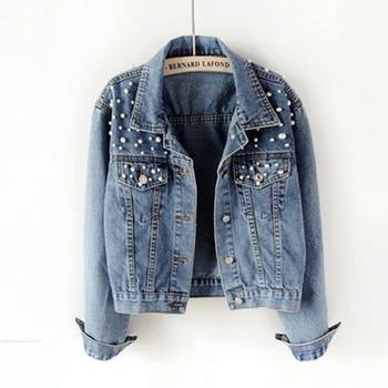 Boyfriend jeans jacket Women pearls Oversized Denim Jackets Vintage Long Sleeve Casual Coat Ladies Single breasted bomber