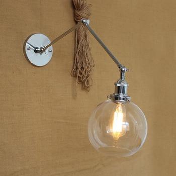 Lámpara Retro Moderna De Bronce Y Oro Cromado Negro Con Pantalla De Cristal Y Bola De Globo Transparente Con Luces De Pared De Doble Brazo Oscilante