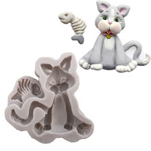 Kitten animal modeling liquid silicone cake mold DIY clay potting clay Model K141(China)