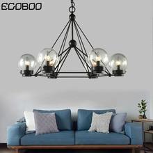 Nordic Style Black  Lighting in Living Room E14 Ceiling lighting with Glass Ball Indoor 220V