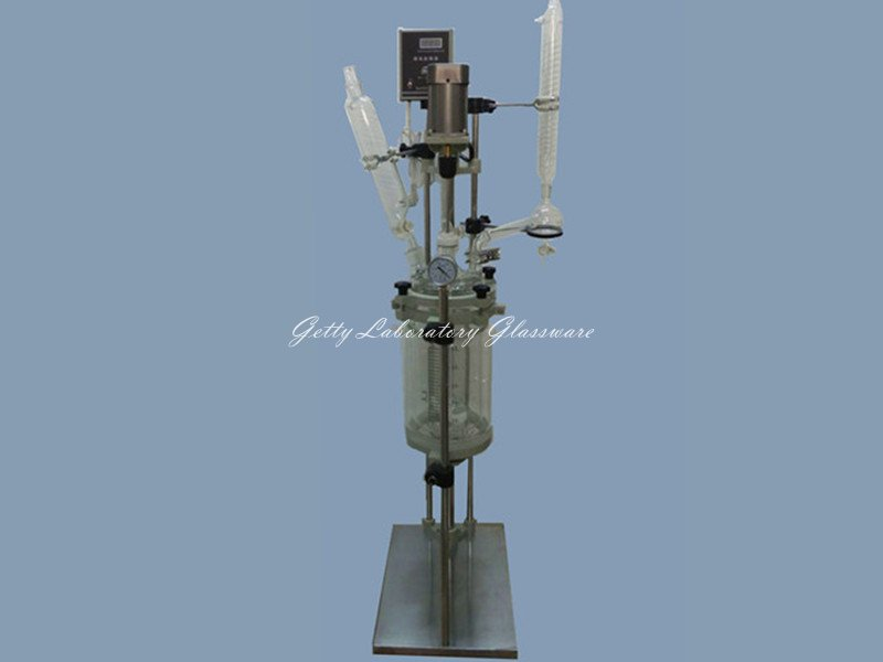 2L Explosion Proof Motor-driven Jacket Chemical Reactor, double-neck Glass Reaction Vessel (reaction equipment) купить недорого в Москве