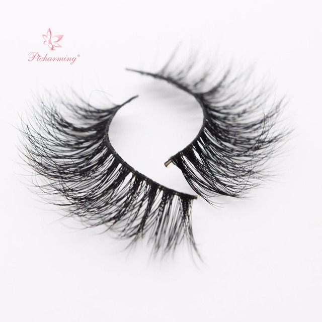 f213e667f8c Ptcharming Handmade 100% 3D Real Siberian Mink False Eyelash Individual  Eyelashes Extension Faux Lashes-