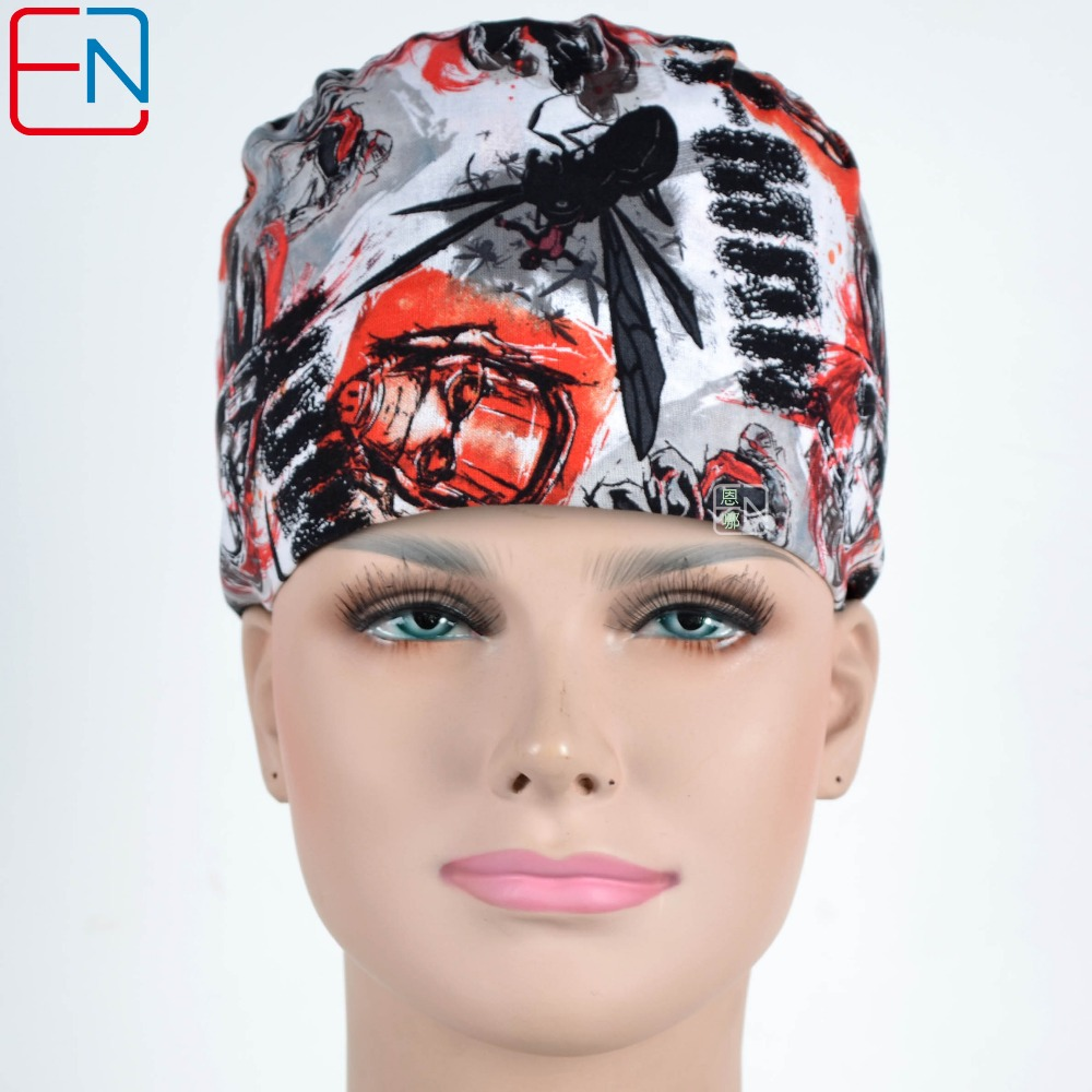 Hennar Surgical Scrub Caps Adjust Size Freely Elastic Bands Cotton Fabric Caps Masks With Sweatband Medical Dental Caps Unisex