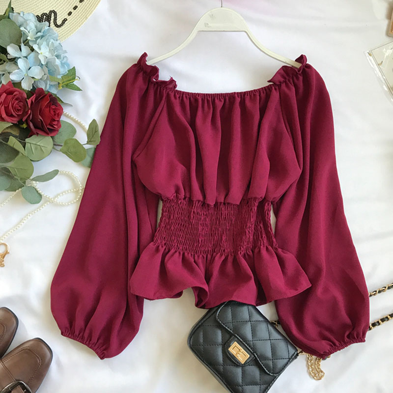 2019 summer new lantern sleeved chiffon women blouse and shirts solid slim sexy slash neck ruffles lady shirts outwear tops