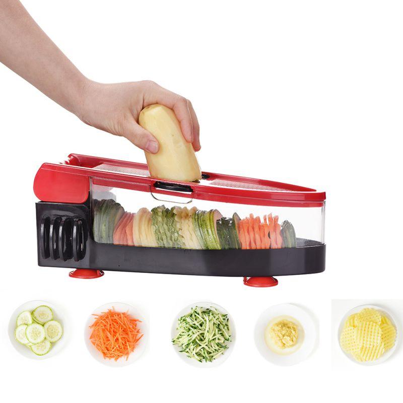 Portable Fruit Vegetable Slicer Cutter Grater Chopper Julienne Slicer 6 Interchangeable Blades Kitchen Accessories Y