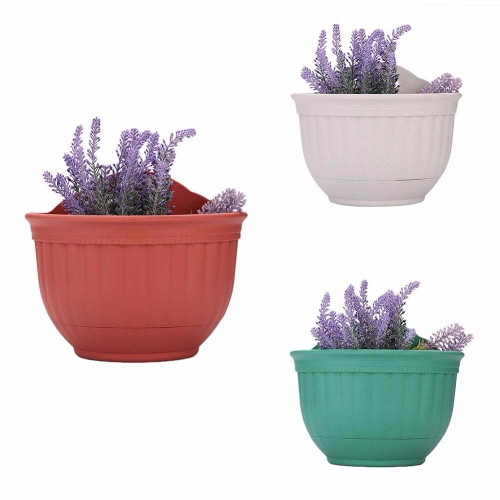 2017 Half Round Plastic Wall Hanging Pots Flowerpot Garden Green Craftses