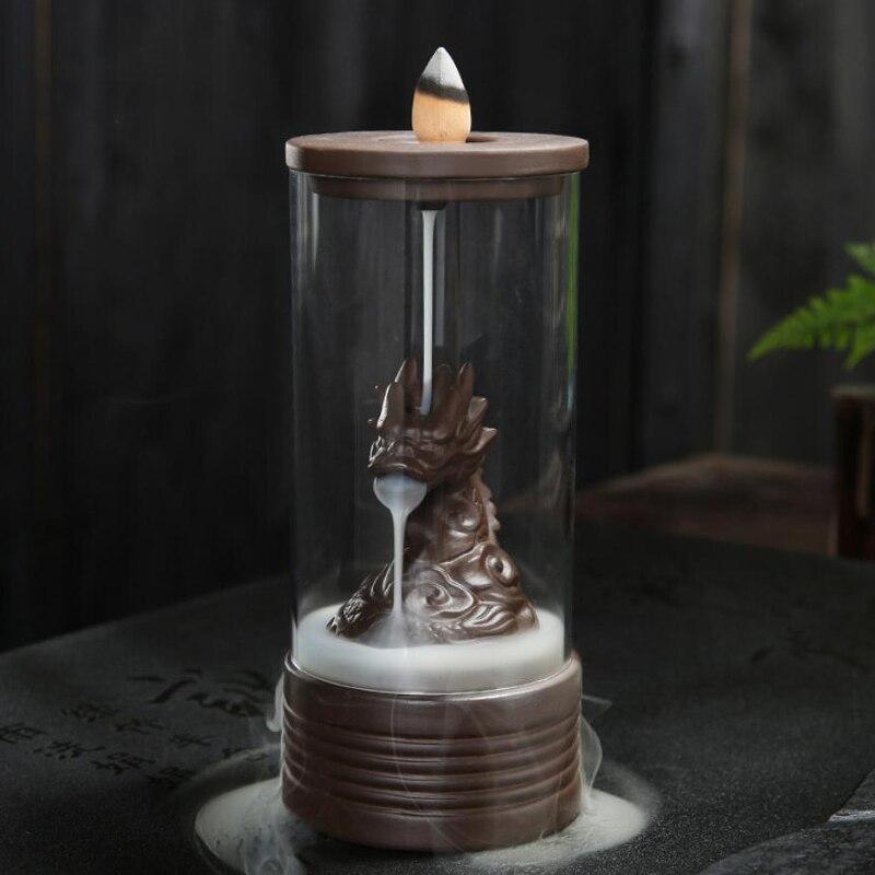Refluxo Incenso Dragão Queimador de Incenso Com Tampa Protetora de Acrílico Cerâmica Para Home Decor Incensário + 20 pcs Cones de Incenso
