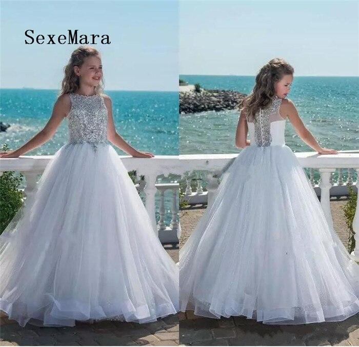 все цены на 2018 Glitz Beaded Crystal Girls Pageant Dresses for Teens Tulle Floor Length Flower Girl Dresses for Weddings Communion Gown онлайн