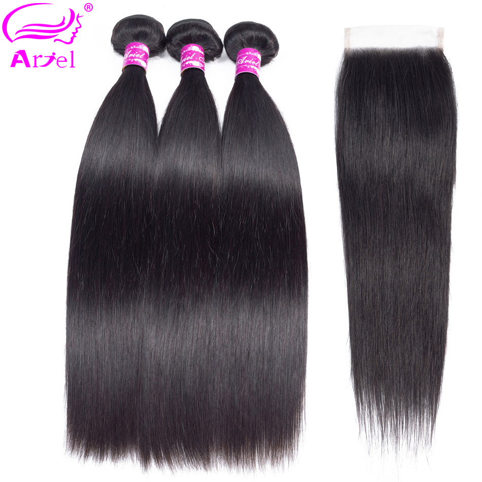 Ariel Hair Extension Human Hair Bundles With Closure Peruvian Non Remy Hair Weave 3 Bundles Straight