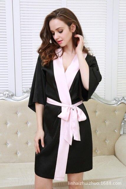 Femmes Soie Satin Courte Nuit Robe Solide Kimono Robe De Mode Peignoir Sexy Peignoir Peignoir Femme De Mariage Mariée Demoiselle D'honneur Robe
