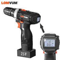 LOMVUM Digital Cordless Electric Drill Double-Speed Screwdriver Power Digital Display Household Woodwooking Power Drills
