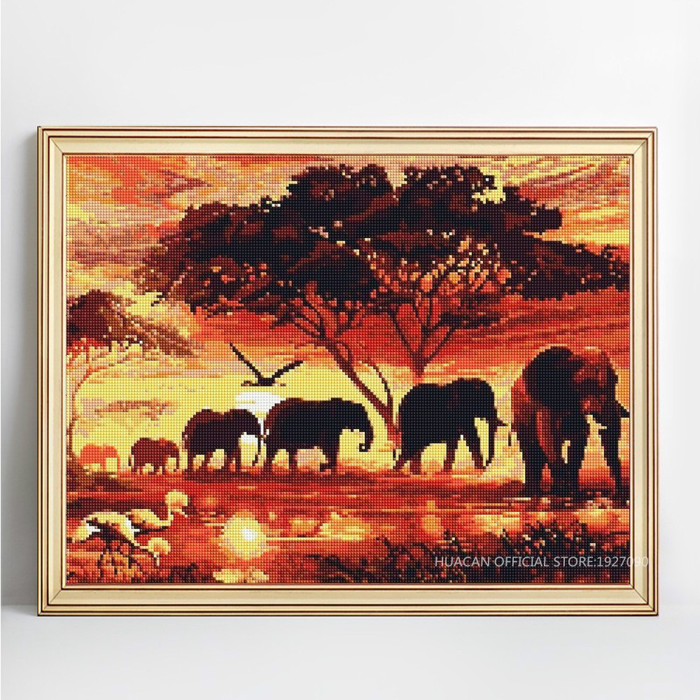 Fezrgea 5D DIY Diamond Painting Animal Full Drill Round Elephant Embroidery Sale Rhinestone Picture Diamond Mosaic Home Decor in Diamond Painting Cross Stitch from Home Garden