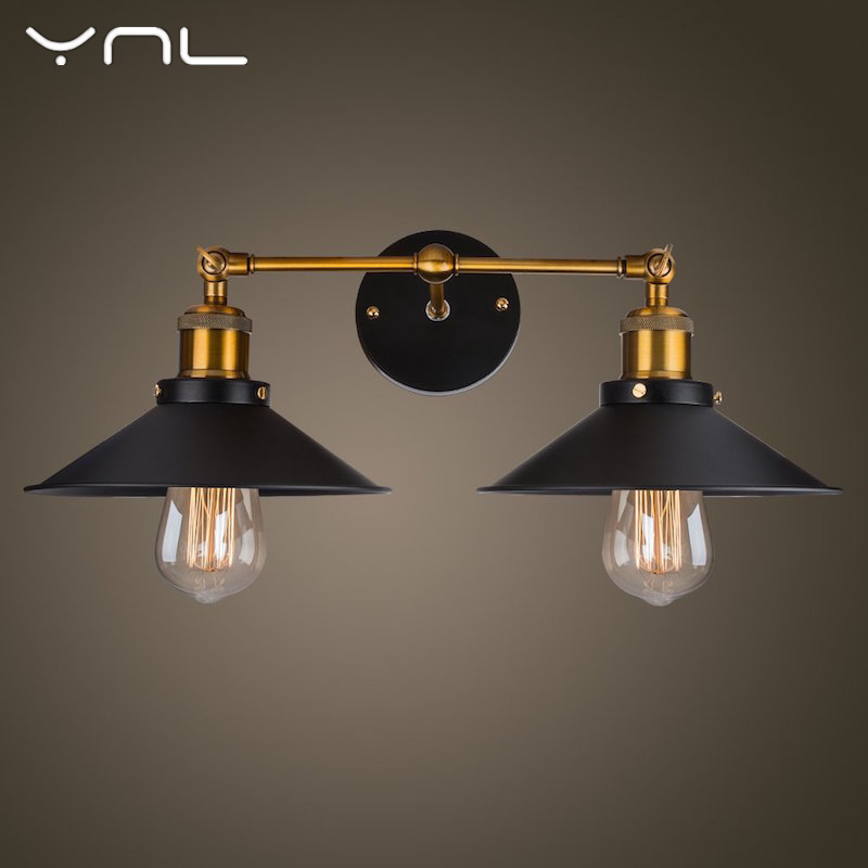 Retro Vintage Loft Black E27 LED Wall Lamp Iron Industrial