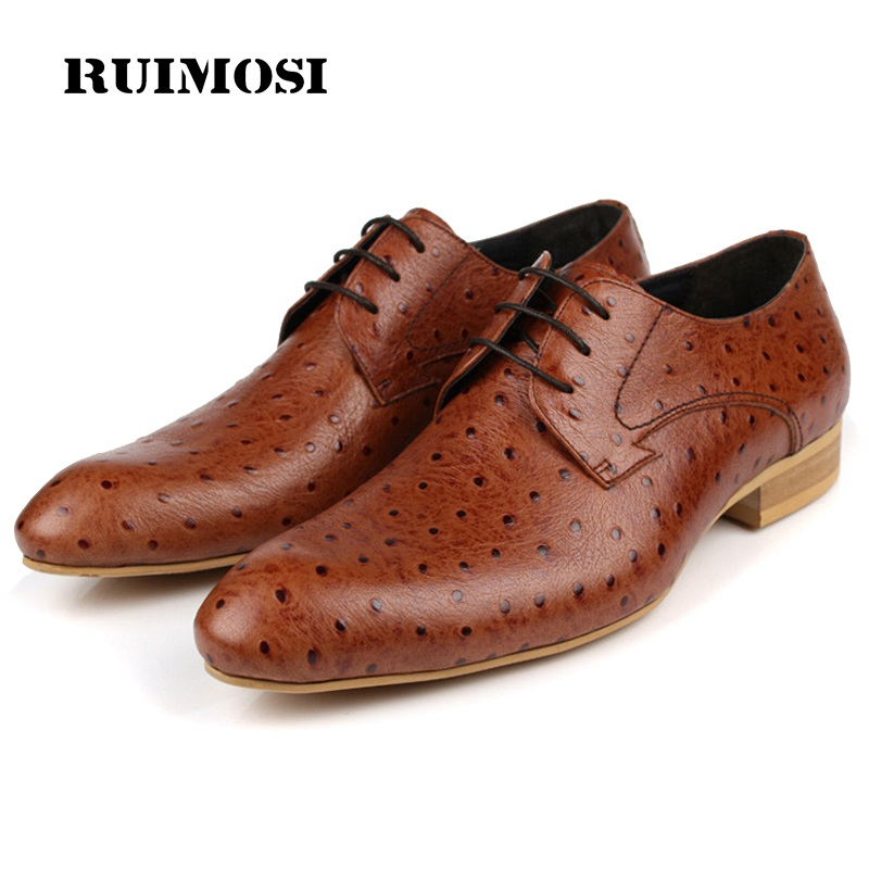 RUIMOSI Ostrich Grain Formal Man Dress Shoes Genuine Leather Designer Oxfords Luxury Brand Men's Wedding Footwear For Male FD87