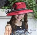 Бесплатная доставка продажа мода элегантный новый дизайн атлас платье Hat женщины одеваются шляпы большой краев красный девушки церковь шляпа фетровых шляпа