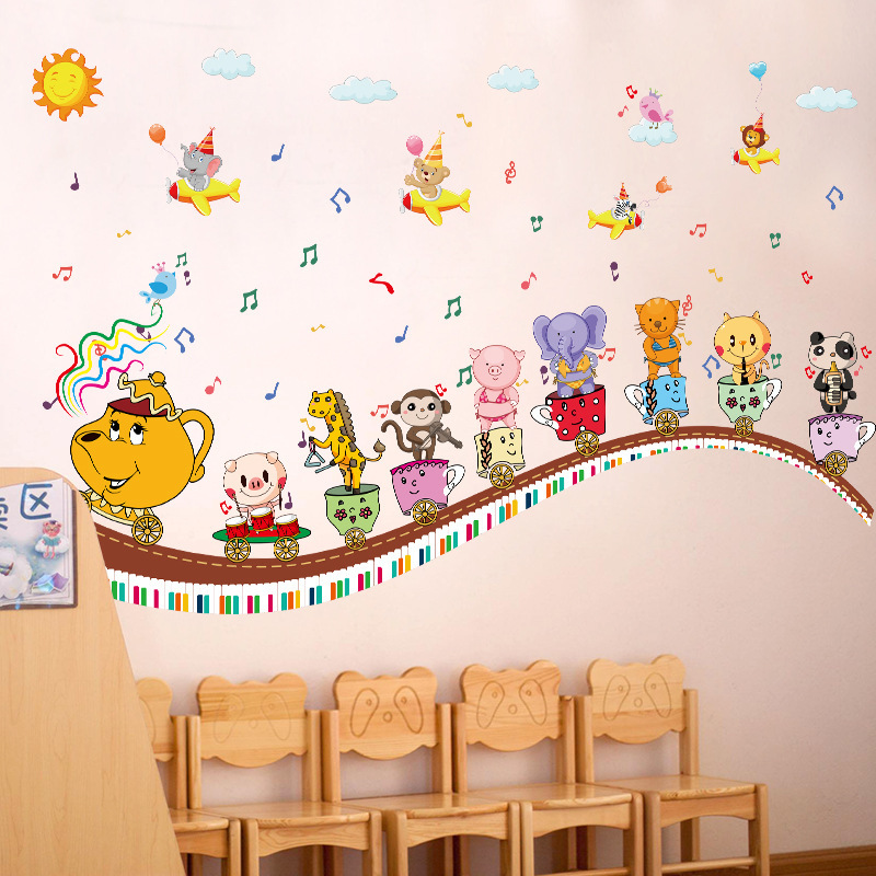 Cartoon animal music note cup children wall stickers kids ...