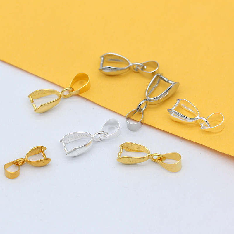 20p 6x14mm 6.5x18mm 7.5x20mm silver gold plated Copper Findings Bail Connector Bale Pinch Clasp Pendant jewelry finding Buckles