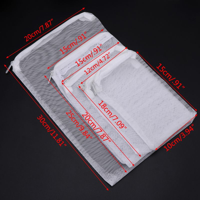 2019 New 5 Pcs/Set Aquarium Filter Bag Fish Tank Mesh Bag Zipper Net Pond Bio Ball Active Carbon Isolation Storage 5 Sizes