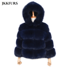 2019 New Womens Real Fox Fur Jacket Hooded Chunky Coat With Pocket Genuine Natural Winter Thick Warm Luxury S7488