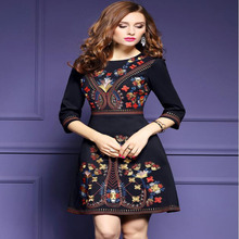 Europe and the United States retro national style women's embroidery black dress skirt free shipping цена 2017