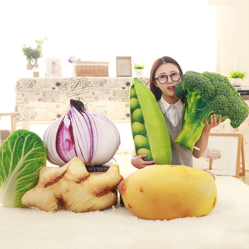 1313 Creative Simulatie 3d Pluche Kussens Groente-en Kussen Pluche Specialiteit Speelgoed Broccoli Kool Gember Erwt Ui Koop Geavanceerde TechnologieëN