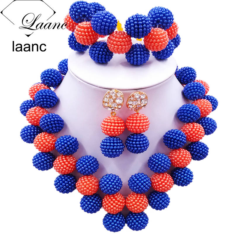 Laanc Latest Royal Blue and Orange Nigerian Wedding African Beads Jewelry Set for Women JXZ020