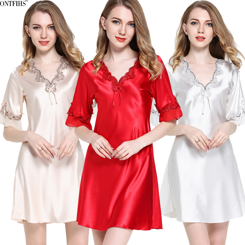 Summer Silk Satin Short Sleeve Nightgowns & Sleepshirts For Ladies V-Neck Sleepwear Red Champagne and White Nightwear Dress A-10