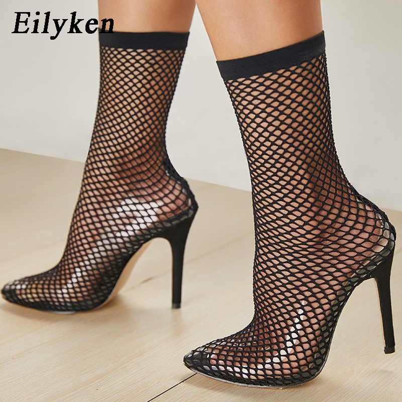 Eilyken 2019 PVC Fashion Transparent Mesh Stretch Fabric Sock Boots Thin Heels Pointed Toe Ankle Woman Boot Black