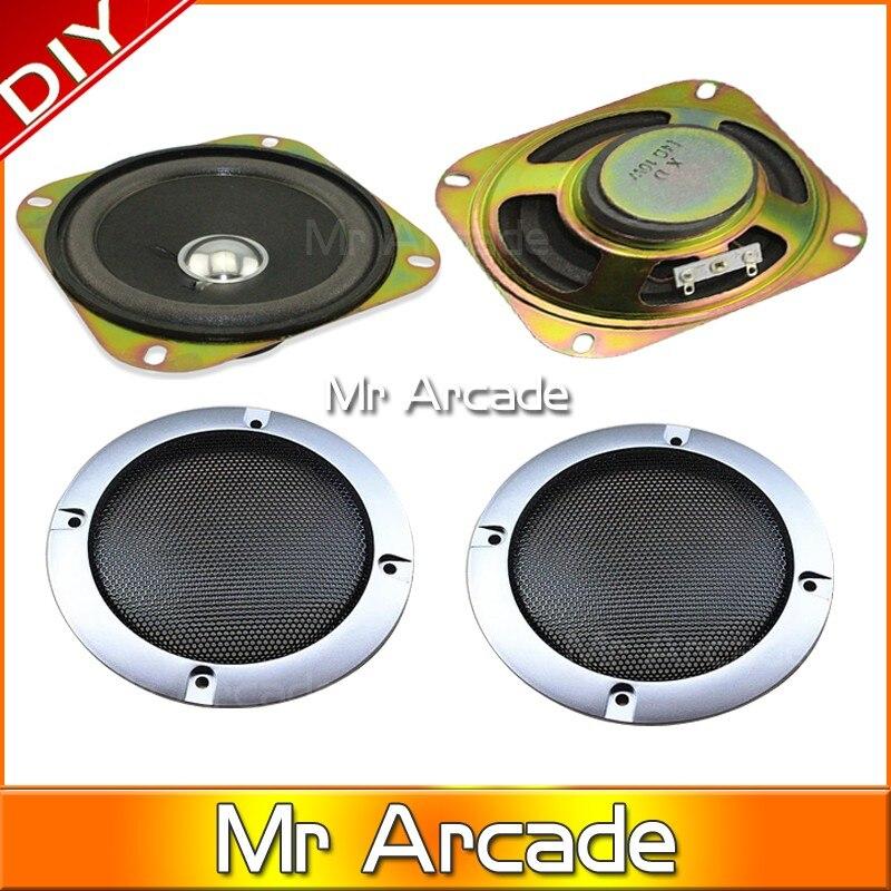 1 pcs Carré 4 pouce 8ohm 5 W haut-parleur avec Haut-Parleur net Haut-Parleur et Haut-Parleur grill arcade machine de jeu accessoires cabinet pièces