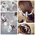 Coronas de Flores de la boda Nupcial Del Pelo Hecho A Mano de La Perla Mujer Niñas Flor de Mariposa Guirnalda Guirnalda de La Flor Diademas Accesorios Para El Cabello