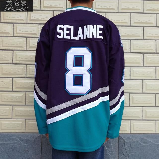 MeiLunNa Boże Narodzenie Czarny Piątek Movie Koszulki #8 Teemu Selänne Mighty Ducks Jersey 0801 Fioletowy Throwback Hokej na lodzie