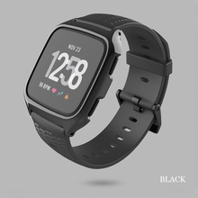 2 in 1 Sport bands For fitbit versa band Silicone wrist strap with frame Replacement Bracelet for lite