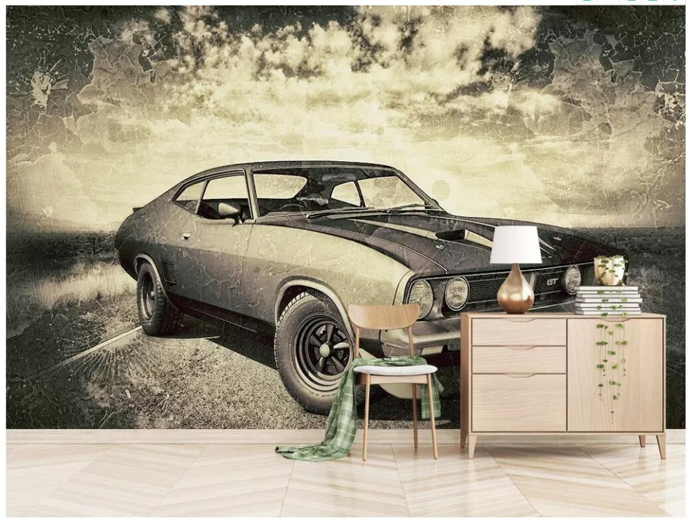 US $16.07 48% OFF Custom photo 3d room wallpaper Retro vintage car shabby  style mural background wall decor 3d wall murals wallpaper for walls 3 d-in  ...