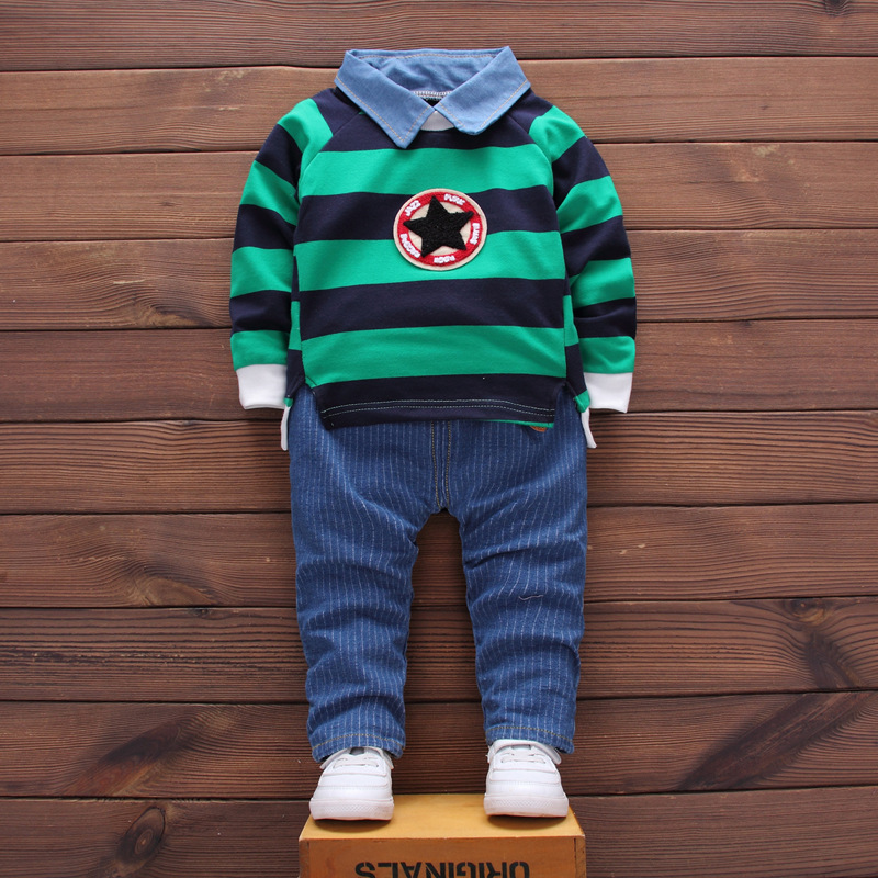 BibiCola baby Boys Clothing Set Spring Autumn Kids Girls Clothes stripe Pullover Tops+ jeans Pants Sports Suit for Children Baby new spring kids clothes navy long sleeve pullover striped sports suit casual boys clothing set z249