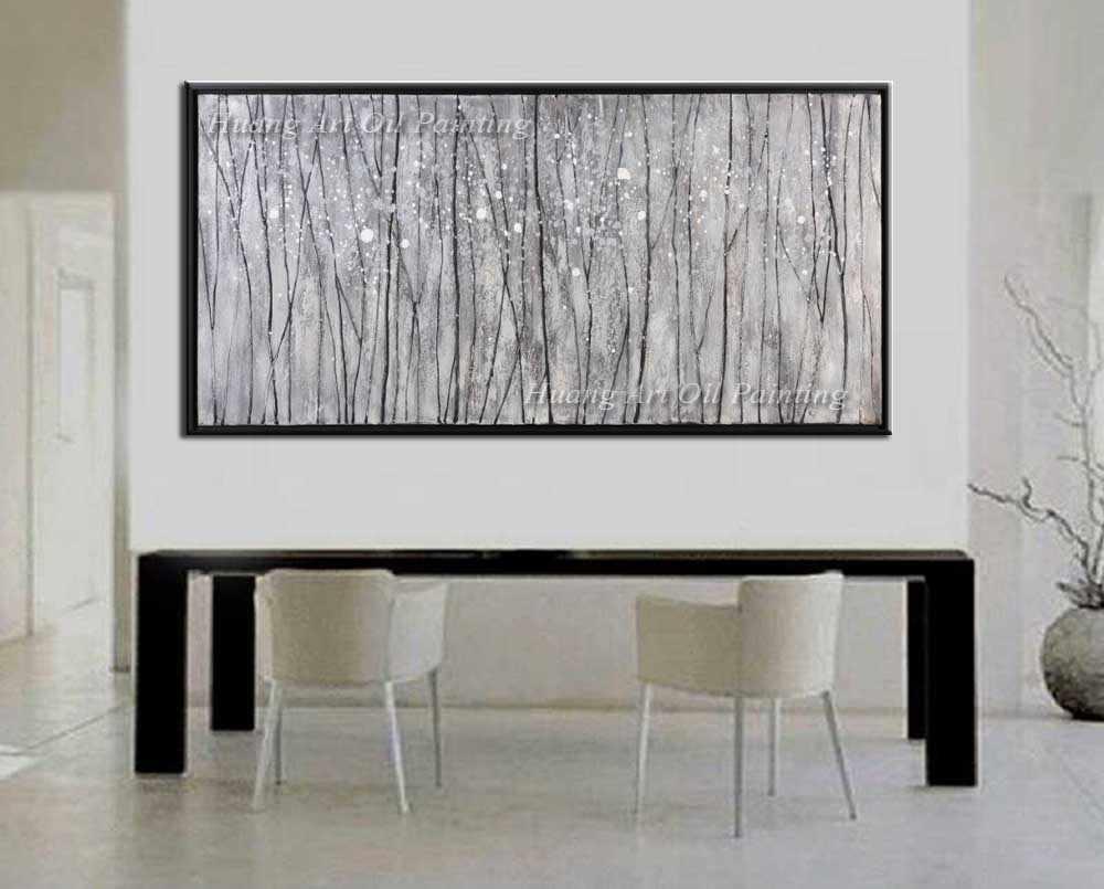 Handgemalte Moderne Landschaft Ölgemälde Wand-dekor Weiß Birches Abstrakten Baum Malerei Auf Leinwand Für Wohnzimmer Hotel Decor