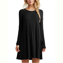 Newest Autumn Long Sleeve Above Knee Short Dresses O neck Loose Casual Dresses With 5 Colors