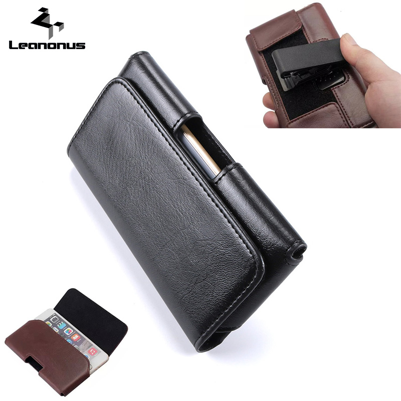 Leanonus Universal Leather Case Pouch for iPhone X 7 8Plus Belt Clips Holster Flip Bag Pouch Cover for Samsung Note8 S8 Max6.0