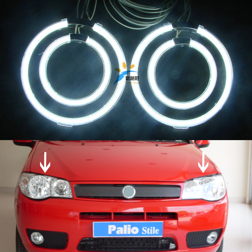 12V Halo Rings Round CCFL Angel Eyes Kit For Fiat Palio 2008 Car Demon Headlight DRL Parking car-styling for uaz patriot ccfl angel eyes rings kit non projector halo rings car eyes free shipping