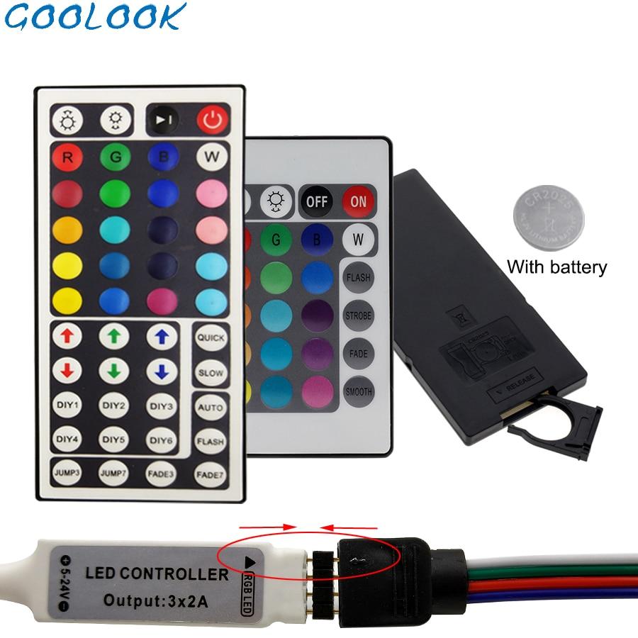 Led Controller 44 Keys 24 Keys LED IR RGB Controler LED Lights IR Remote With Battery Dimmer DC12V For RGB 3528 5050 LED Strip