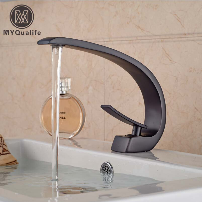 Single Lever Basin Vessel Sink Mixer Faucet Hot and Cold Water Bathroom Mixers Tap Deck Mount Oil-rubbed Bronze oil rubbed bronze centerset bathroom vessel sink faucet single lever with hot and cold water black washing basin mixer taps