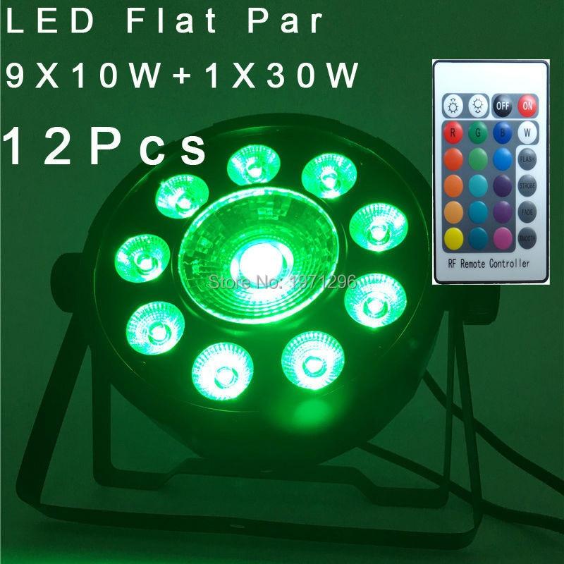 12 Pcs LED Fat Par 9X10W+1X30W Led Light RGB 3IN1 120W LED Stage Light DJ Light 7 DMX Led Par Party Disco DJ Light Fast Shipping 100 pcs ld 3361ag 3 digit 0 36 green 7 segment led display common cathode