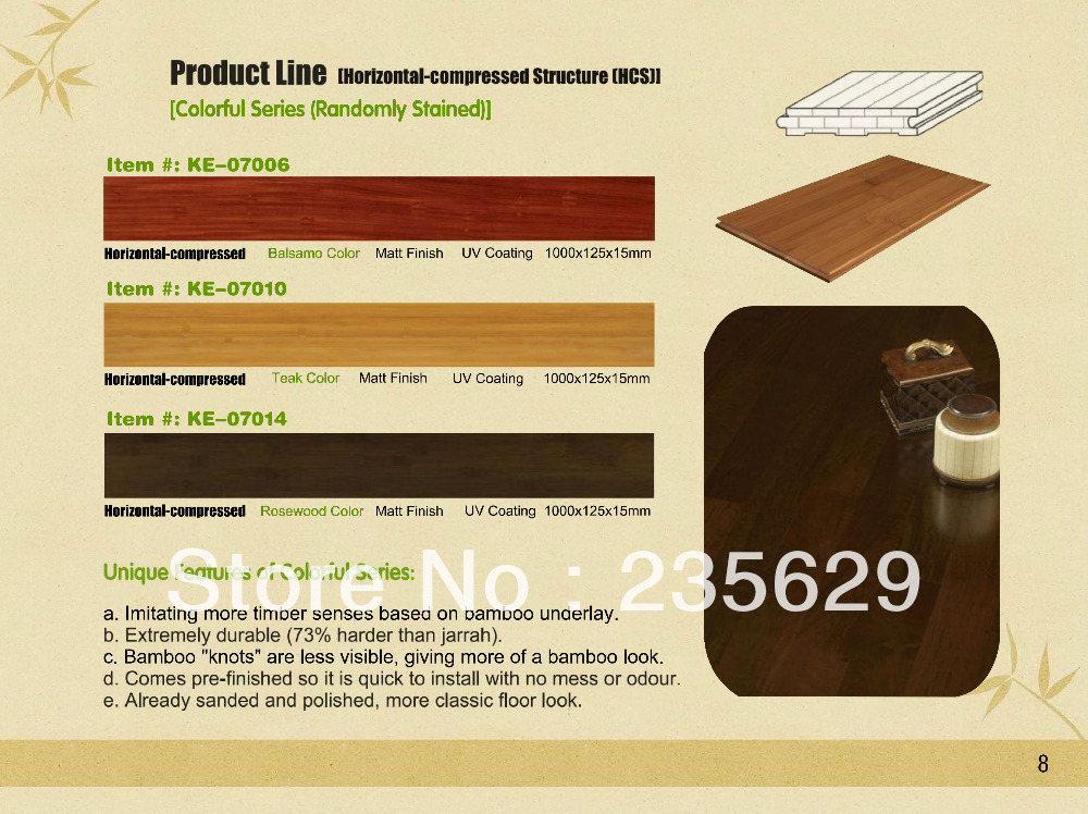 Randomly Stained Horizontal Bamboo Flooring Eco Freindly