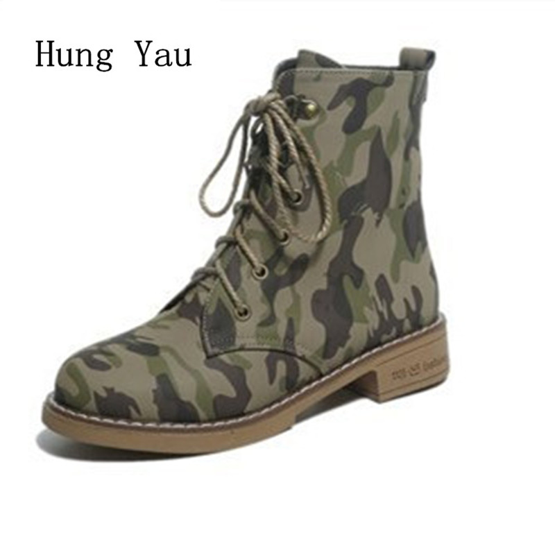 Women Boots 2017 Spring Autumn Fashion Leather Ankle Boots Casual Flats Shoes Woman Outdoor Lace Up Camouflage Round Toe combat green front lace up casual ankle boots autumn flat fashion round toe suede chinese women fall shoes 2017 military ladies