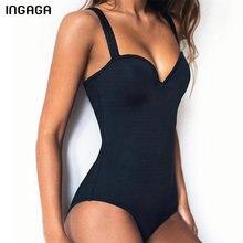 Купить с кэшбэком INGAGA Sexy One Piece Swimsuit Push Up Swimwear Women Solid Bathing Suits Summer Beachwear New 2019 Swimsuits Women
