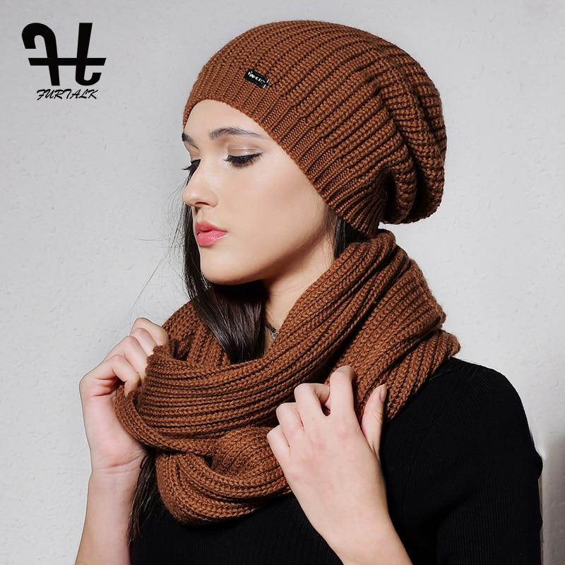 31f8dda9cb6 FURTALK Autumn Winter Knitted Women Hat Scarf Set Slouchy Hat Infinity  Scarves Hat Knit Skullies Beanies Hats for Girls-in Scarf